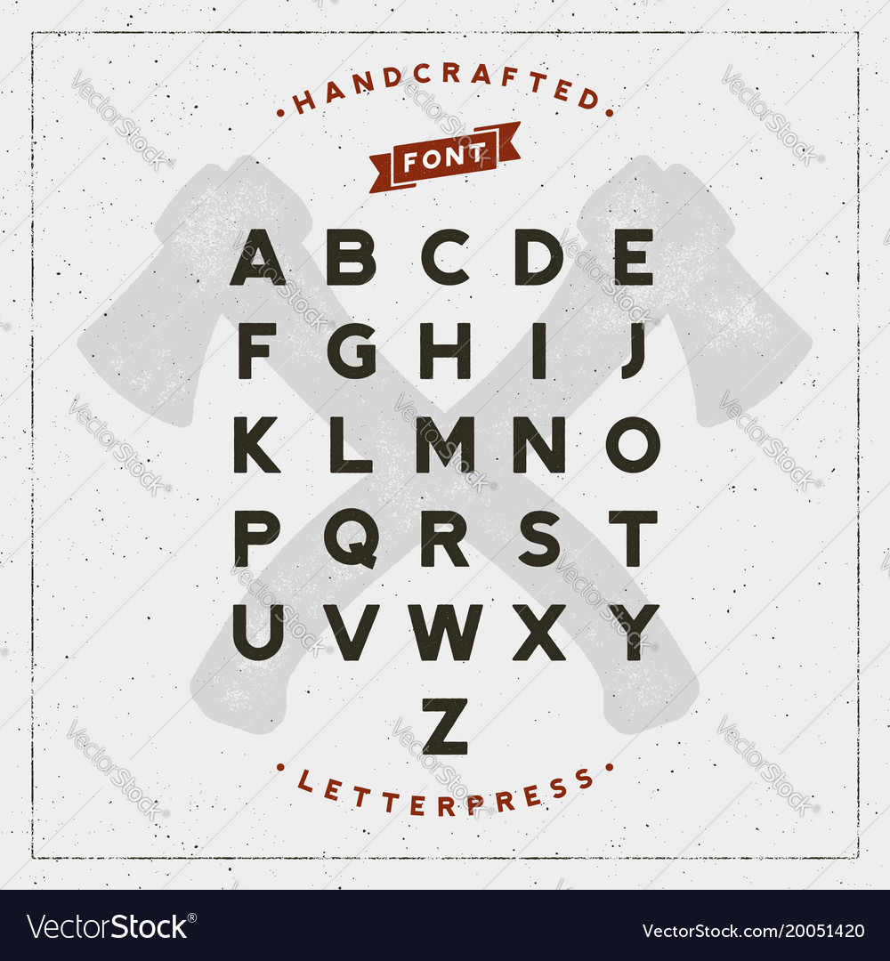Vintage retro handcrafted font