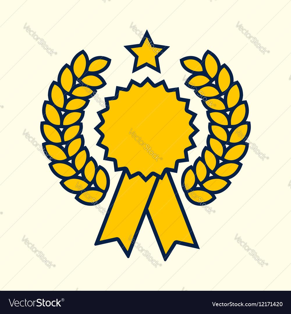 Winner badge symbol golden color design