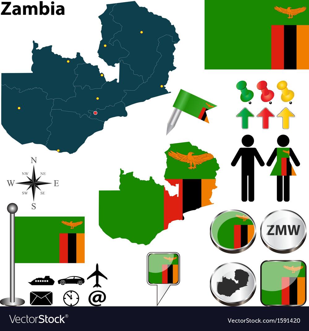 Zambia map vector image