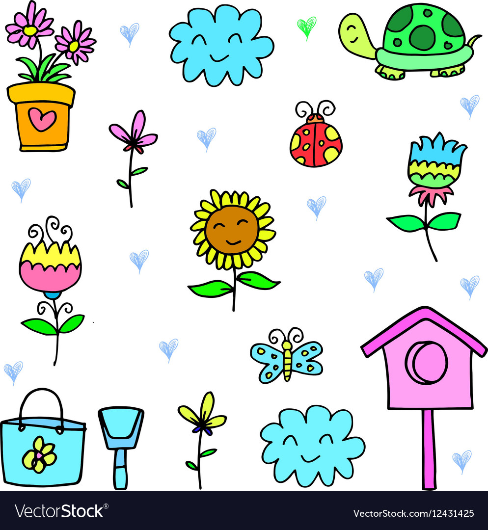 Art spring items set doodles Royalty Free Vector Image