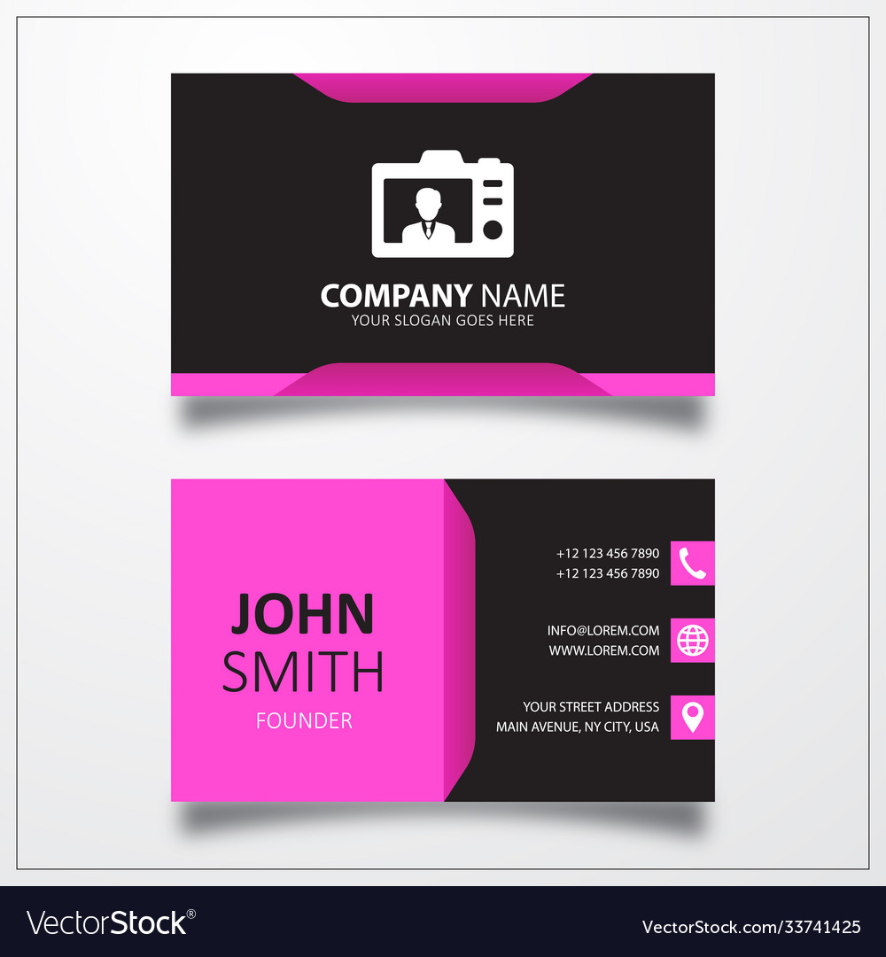 Back photo camera icon business card template