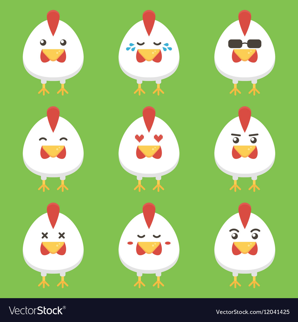 Flat design rooster or chicken cartoon characters