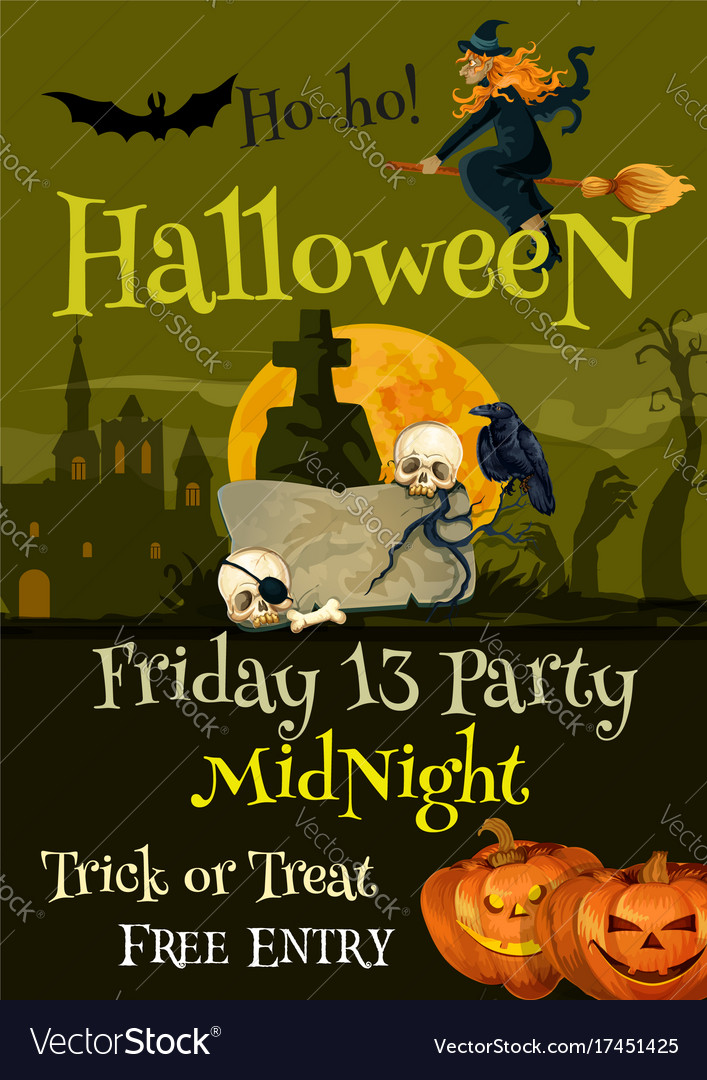 Halloween trick or treat party poster