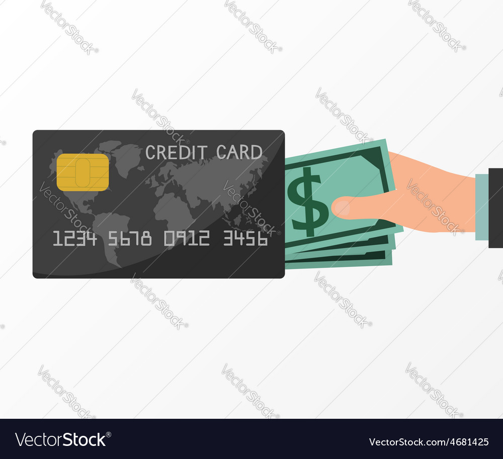 Hands holding money from credit card