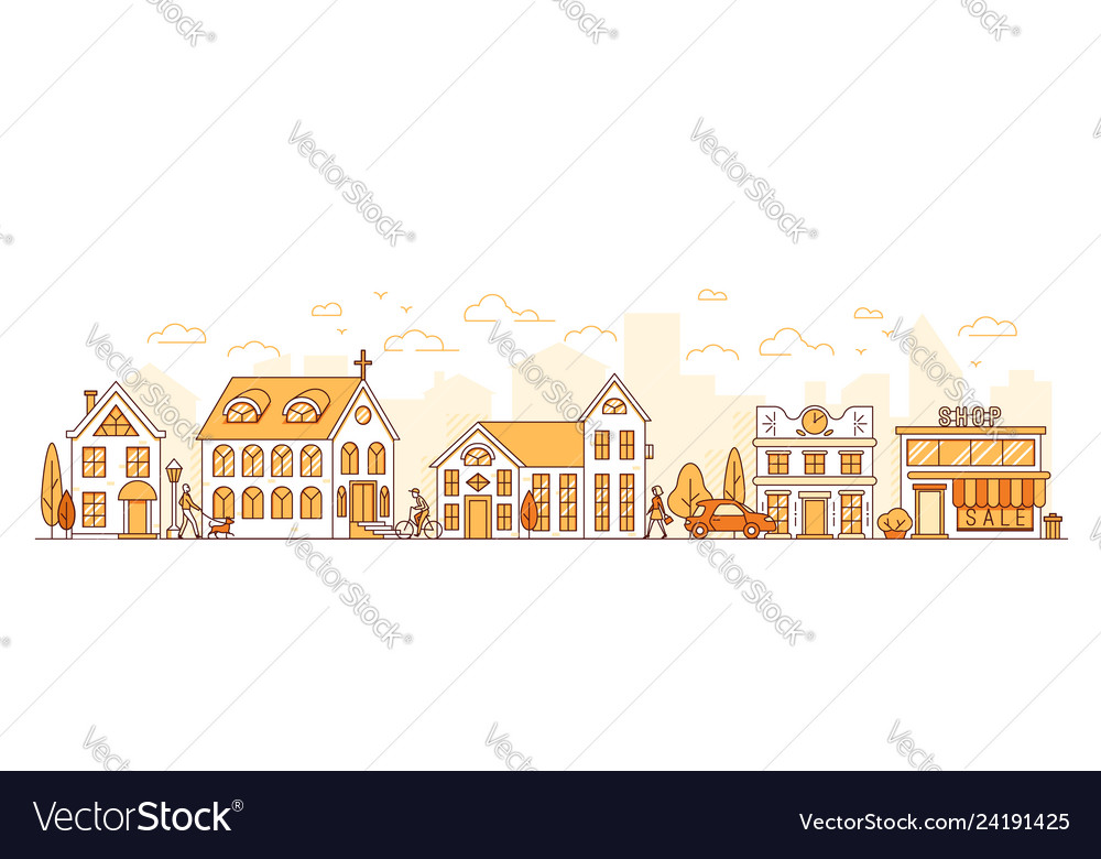 Line art cityscape town street with houses