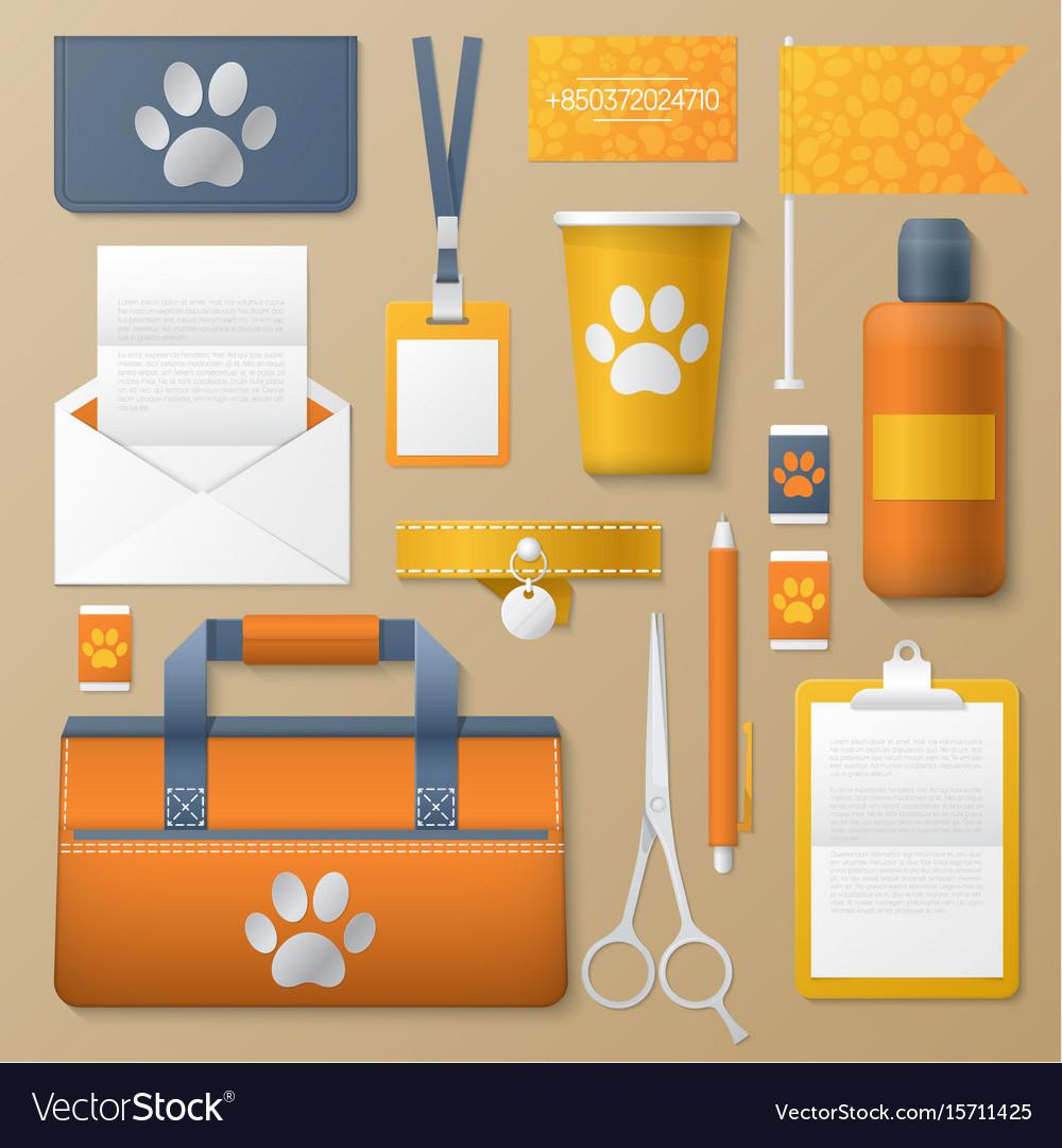 Pet Groomer Identity Template Mockup Royalty Free Vector