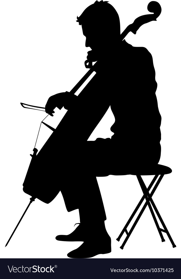 Silhouettes A Musician Playing The Cello Vector Image