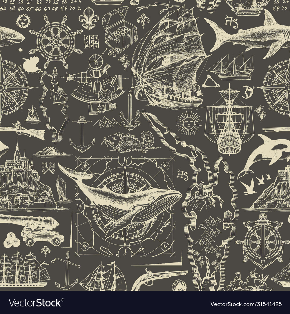 Vintage seamless pattern on travel theme