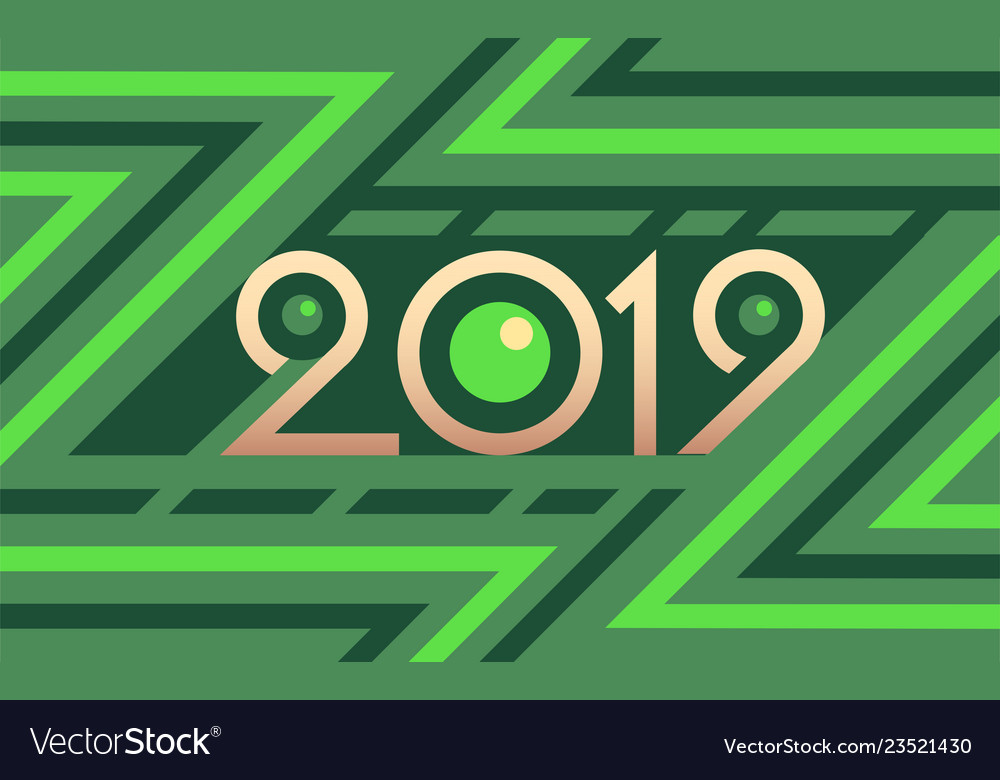 2019 geometric numbers on colorful green