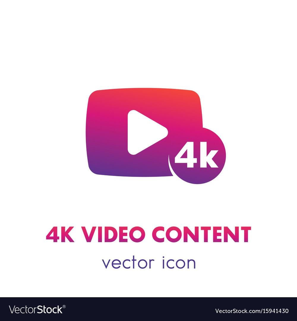 4k video content icon over white