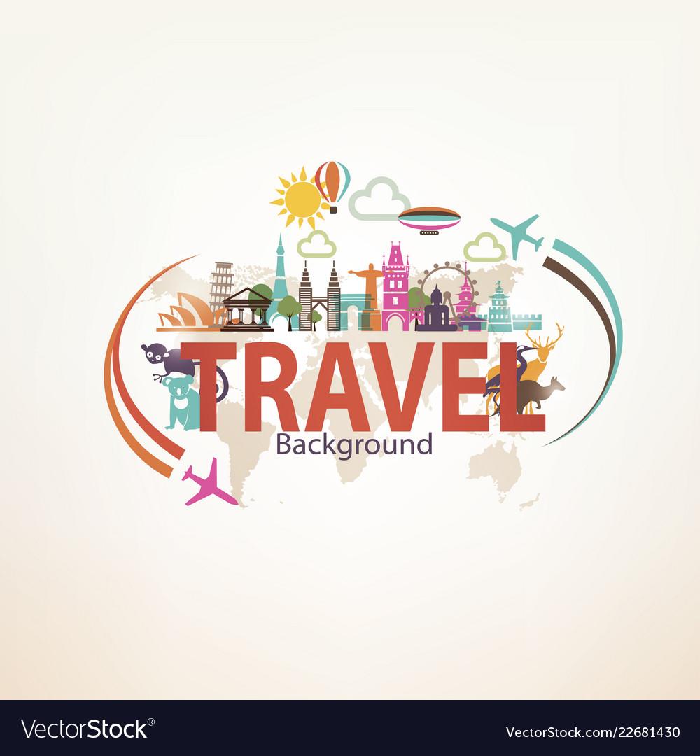 Around the world travel background landmarks and