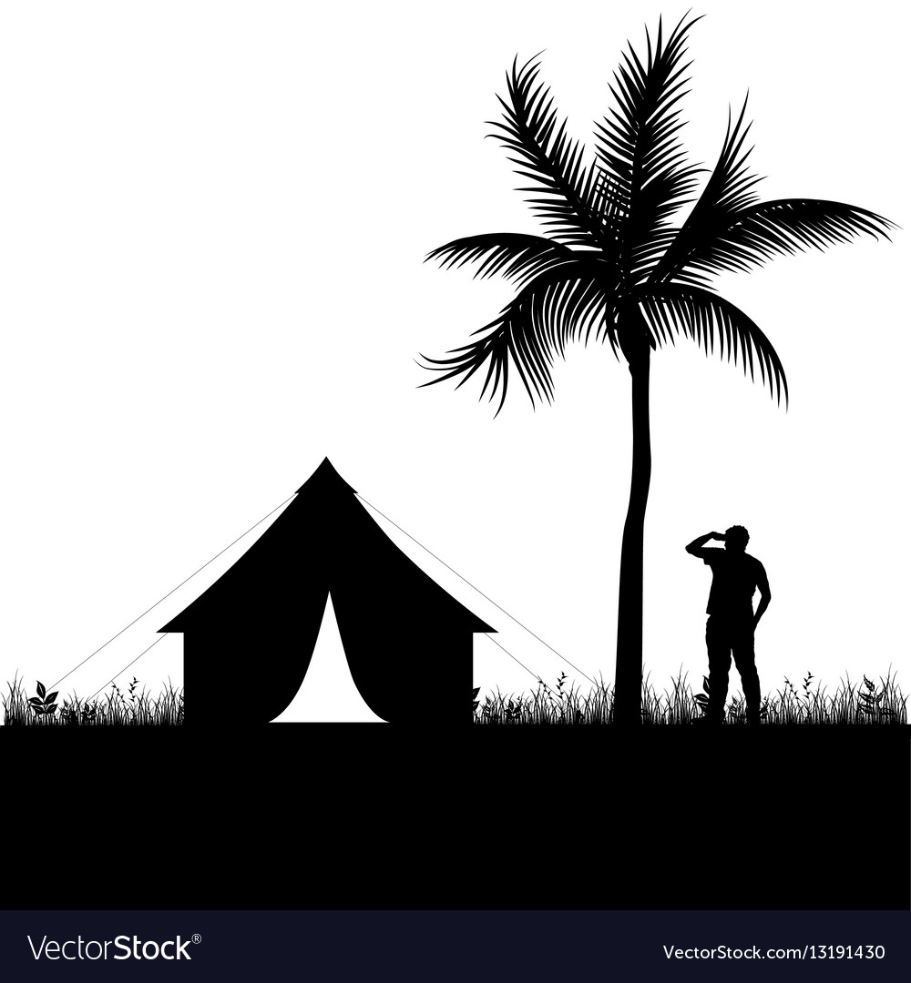 Camping in nature man silhouette