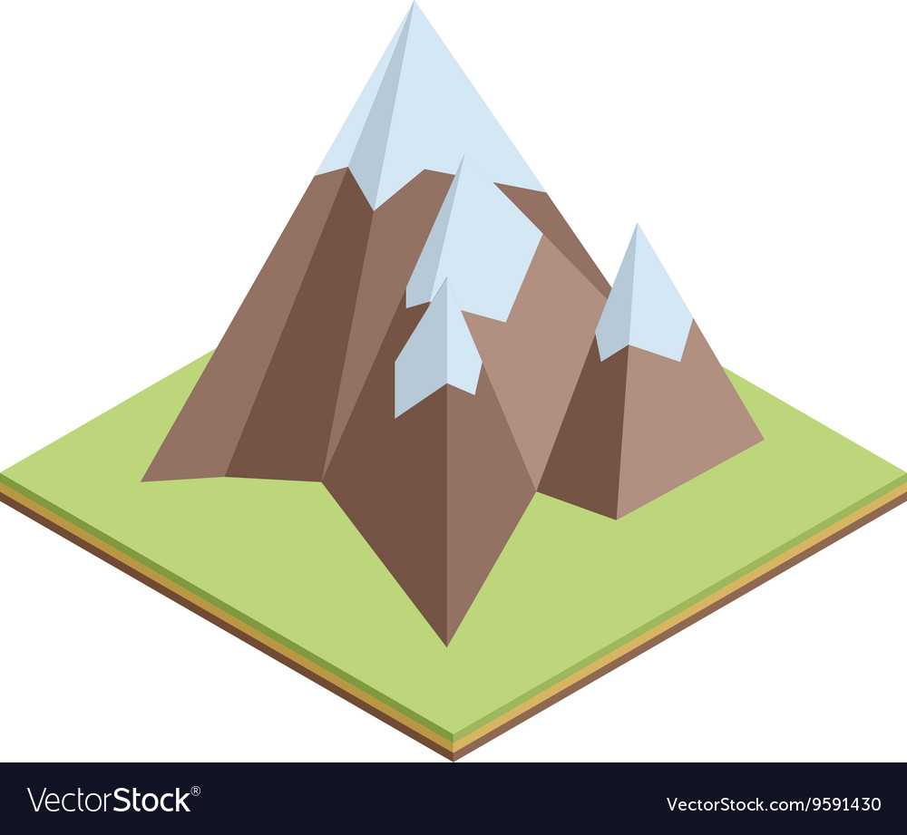 Flat isometric mountain climb vector image