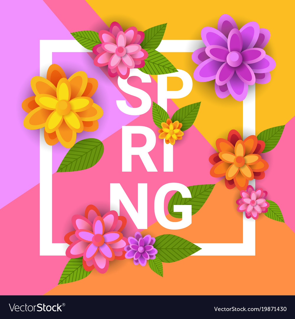 Floral Spring Graphic Design With Colorful Flowers