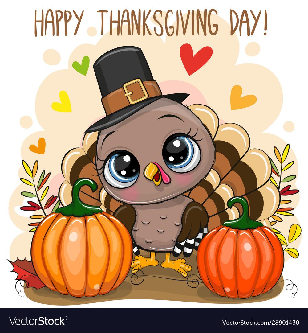 Greeting card with turkey bird
