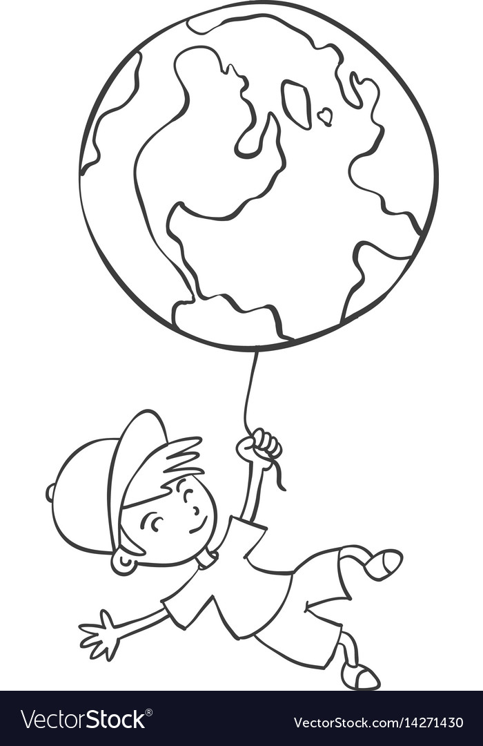 Hand draw child with earth