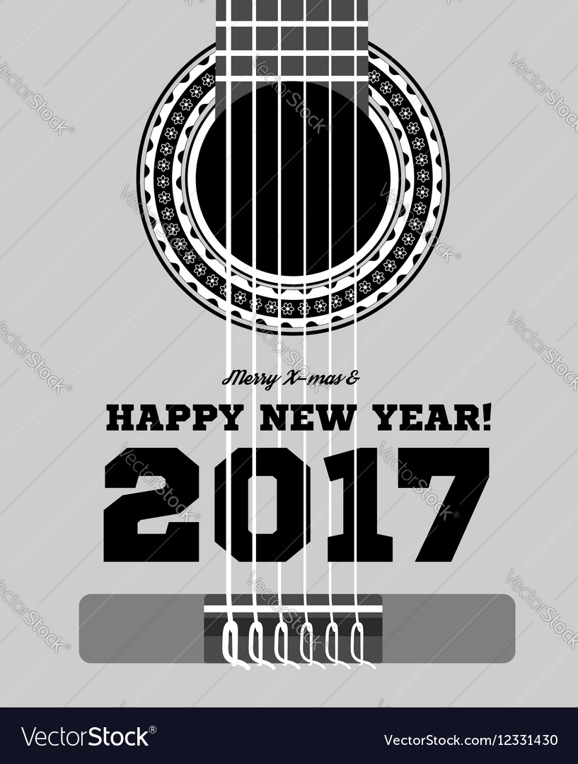 Happy new year on background guitars and