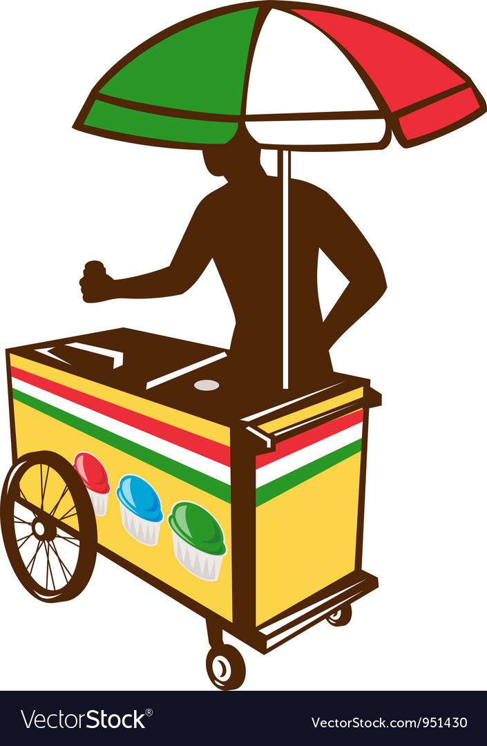 Italian Ice Push Cart Retro vector image