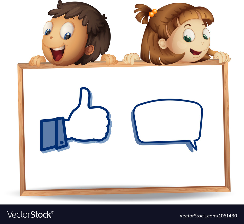 Kids with thumb and call out vector image