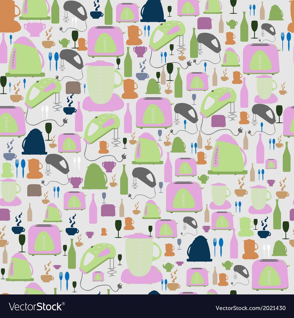 Seamless pattern Kitchenfood background vector image