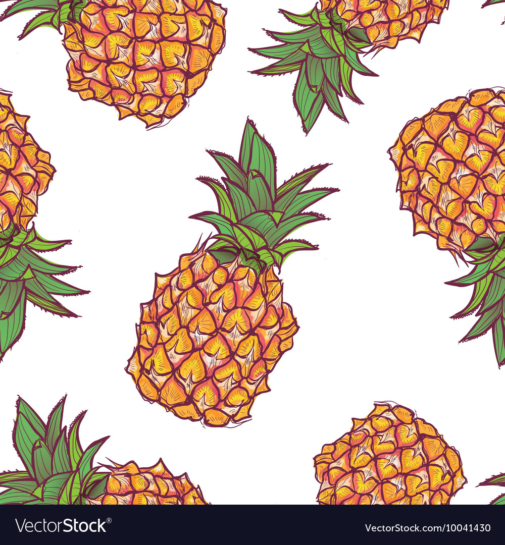 Seamless pattern with pineapple in