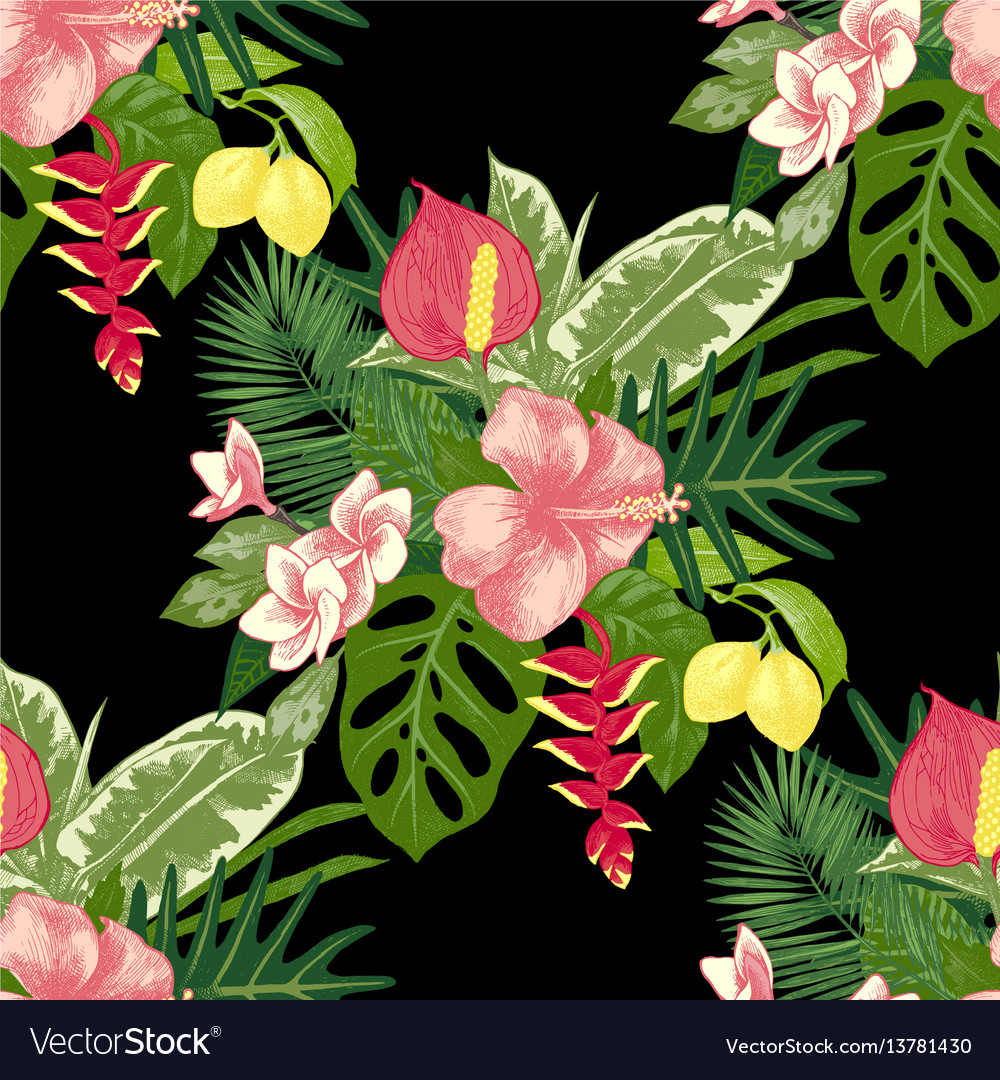 Seamless pattern with tropical plants