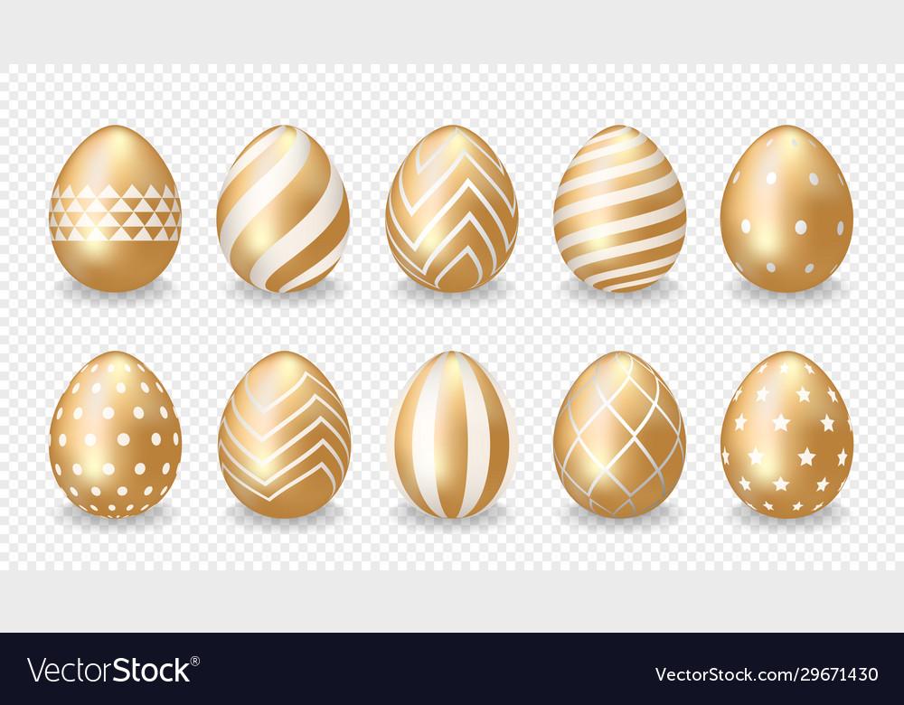 Set golden easter eggs
