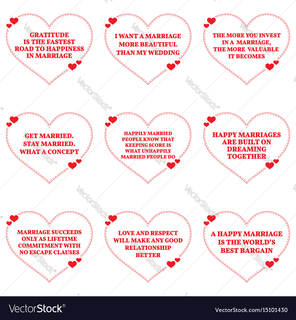 Set Of Quotes About Love And Marriage Over White Vector Image