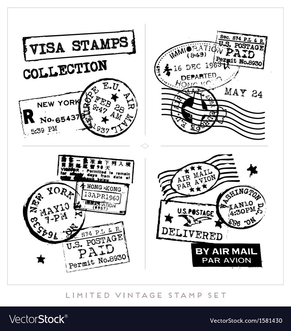 Various Visa Stamps Background