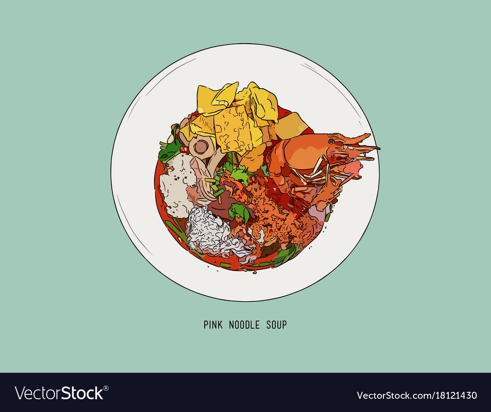 Yen Ta Four Pink Noodle Soup Hand Draw Sketch Vector Image