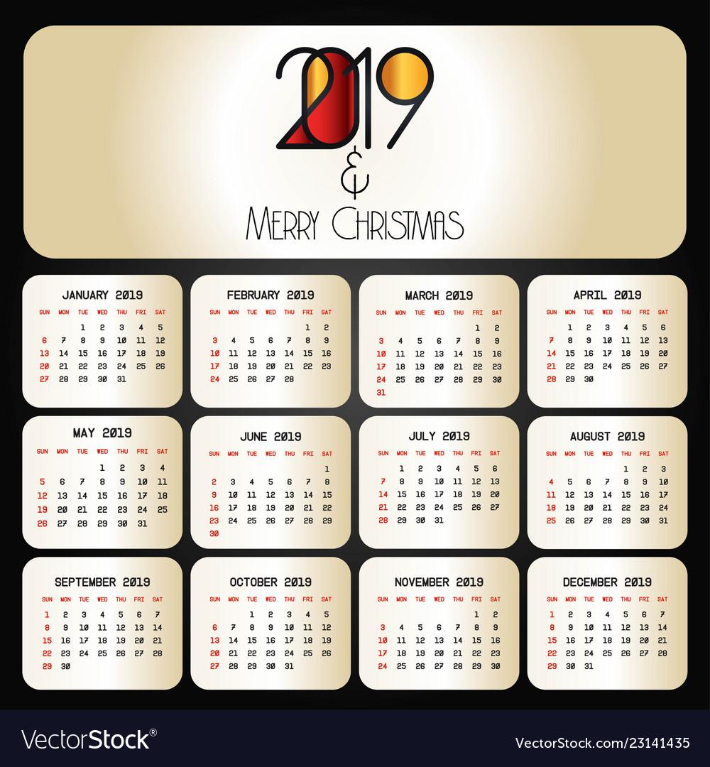 Christmas 2019 Calendar.2019 Christmas Calendar Design Vector Image On Vectorstock