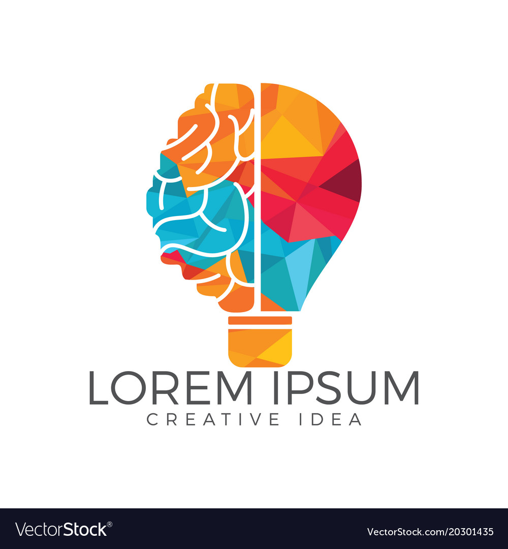 bulb and brain logo design royalty free vector image rh vectorstock com brian logan twitter brain logic