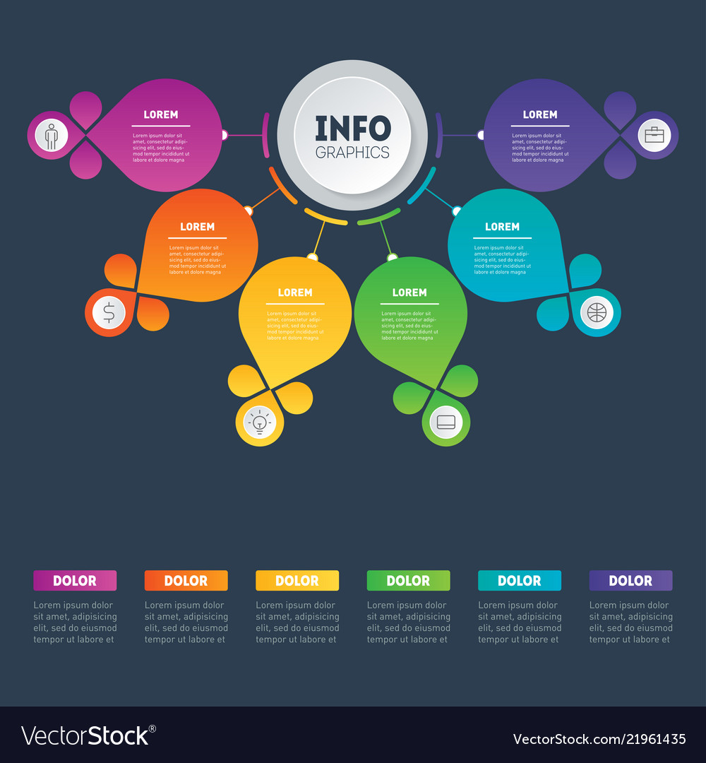 Business presentation concept with 6 options web