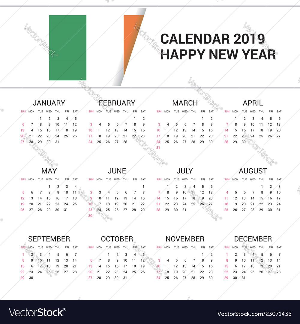 Ireland Calendar 2019 Calendar 2019 ireland flag background english Vector Image