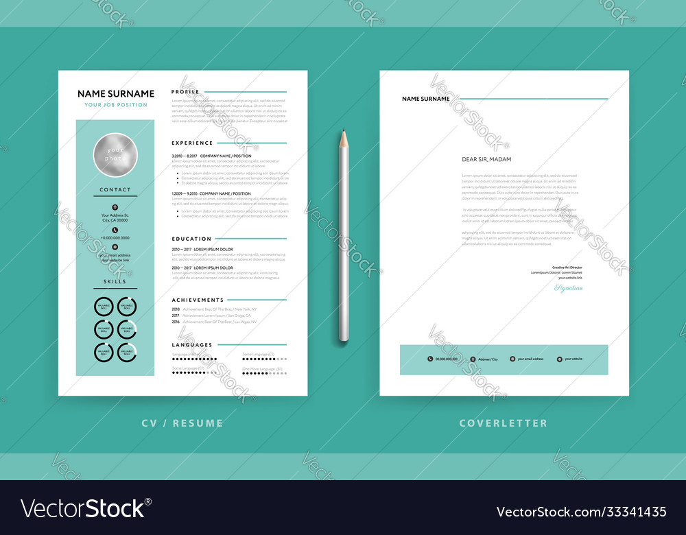 Cv Resume Design Template And Cover Letter Vector Image