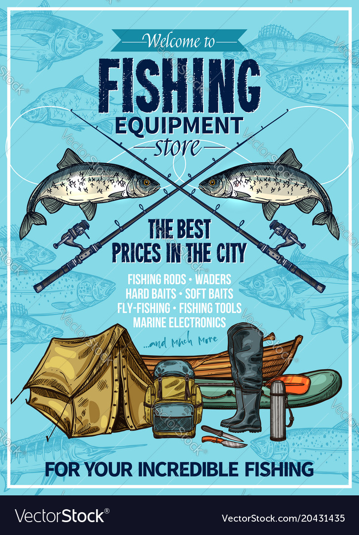 Fisherman sport fishing equipement poster vector image