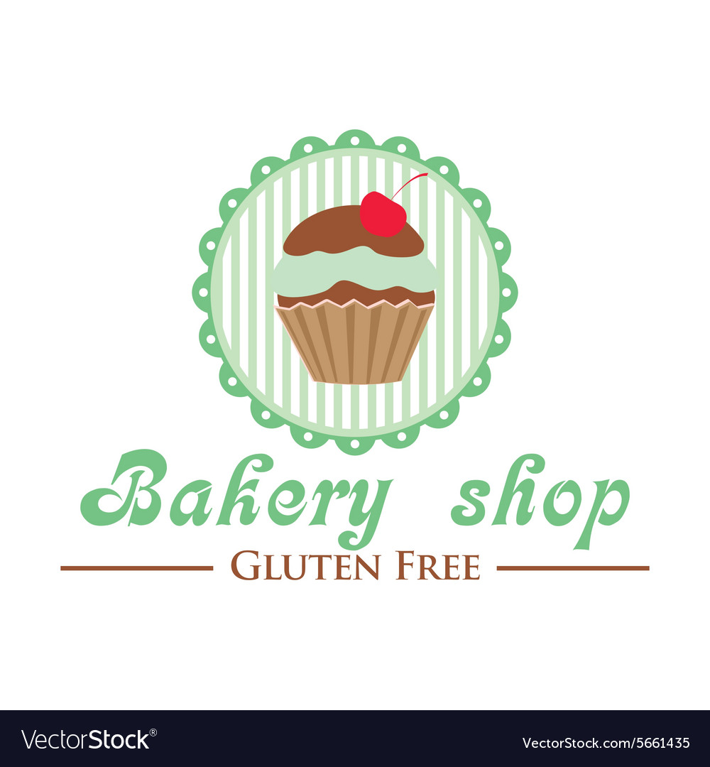 Gluten free bakery shop logo Cute cupcake on
