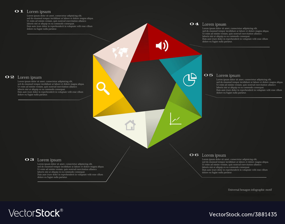 Hexagon infographic with simple signs
