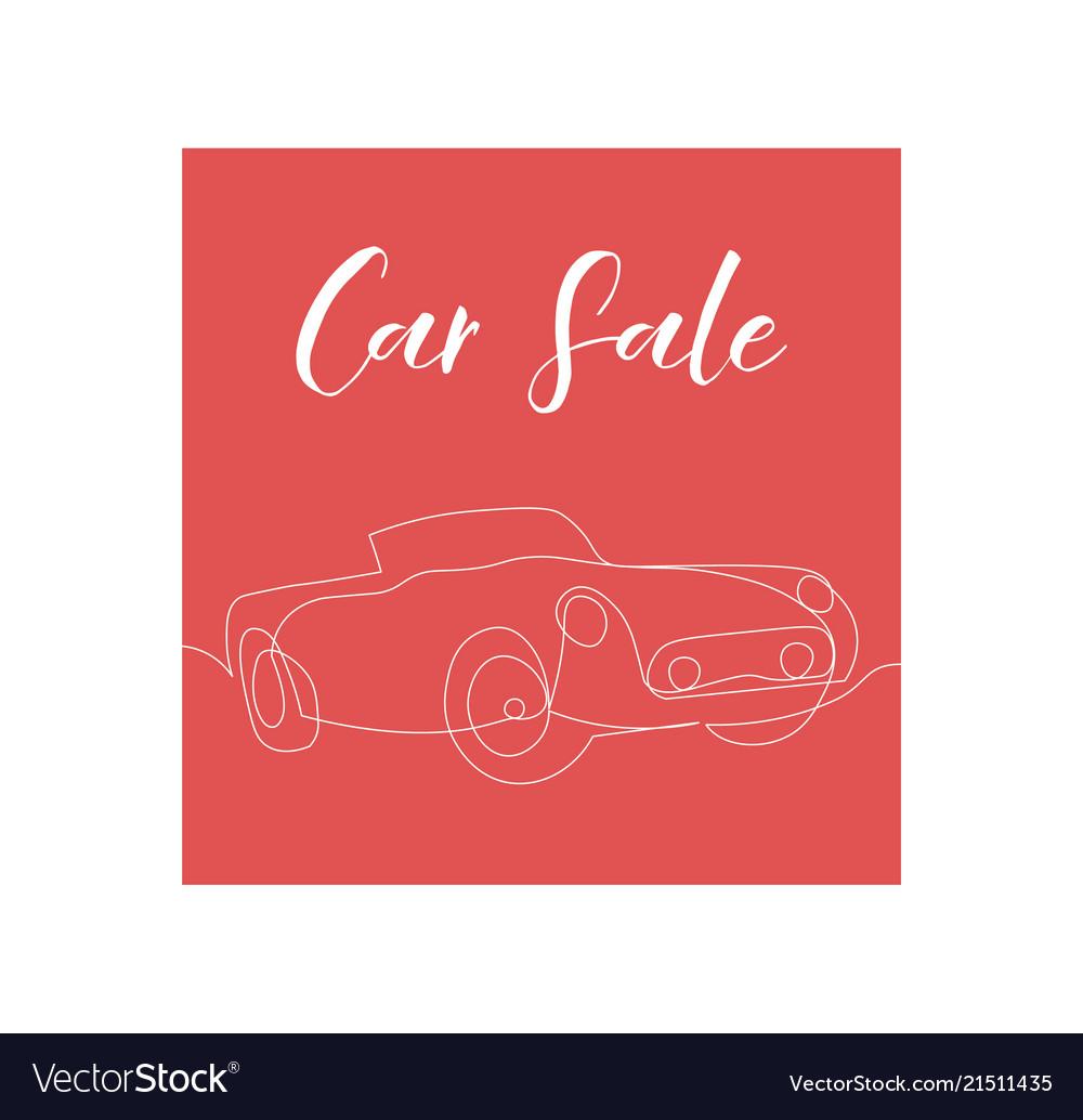 One line car sale poster design