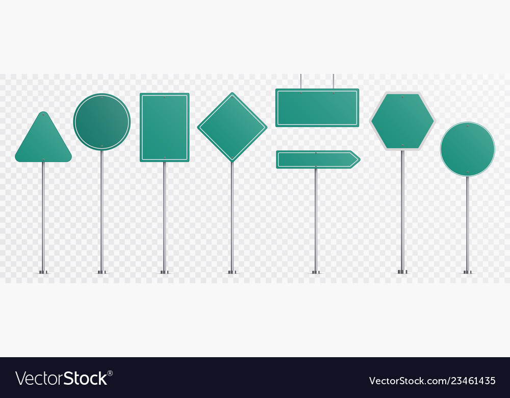 Realistic road signs green plate road direction