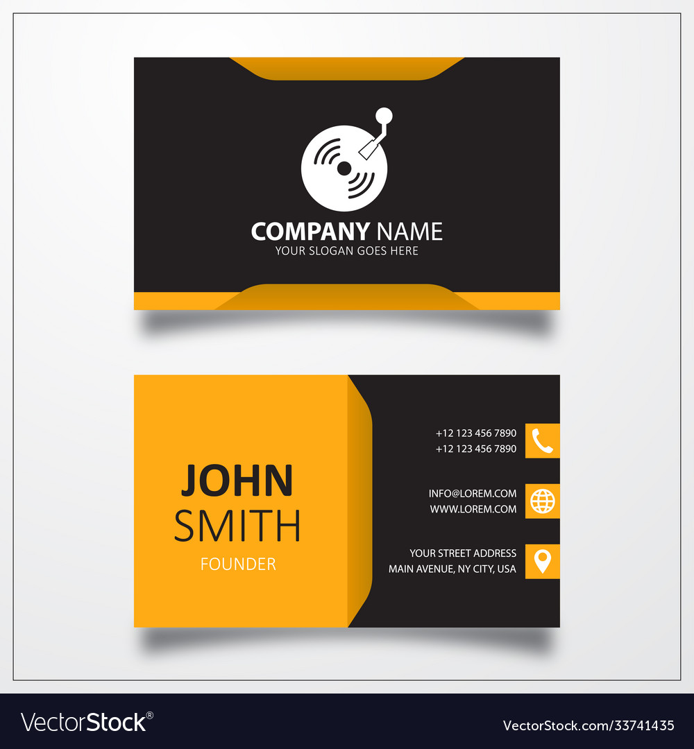 Retro vinyl icon business card template