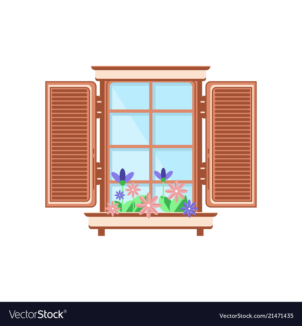 Retro Wooden Window With Shutters And Plants