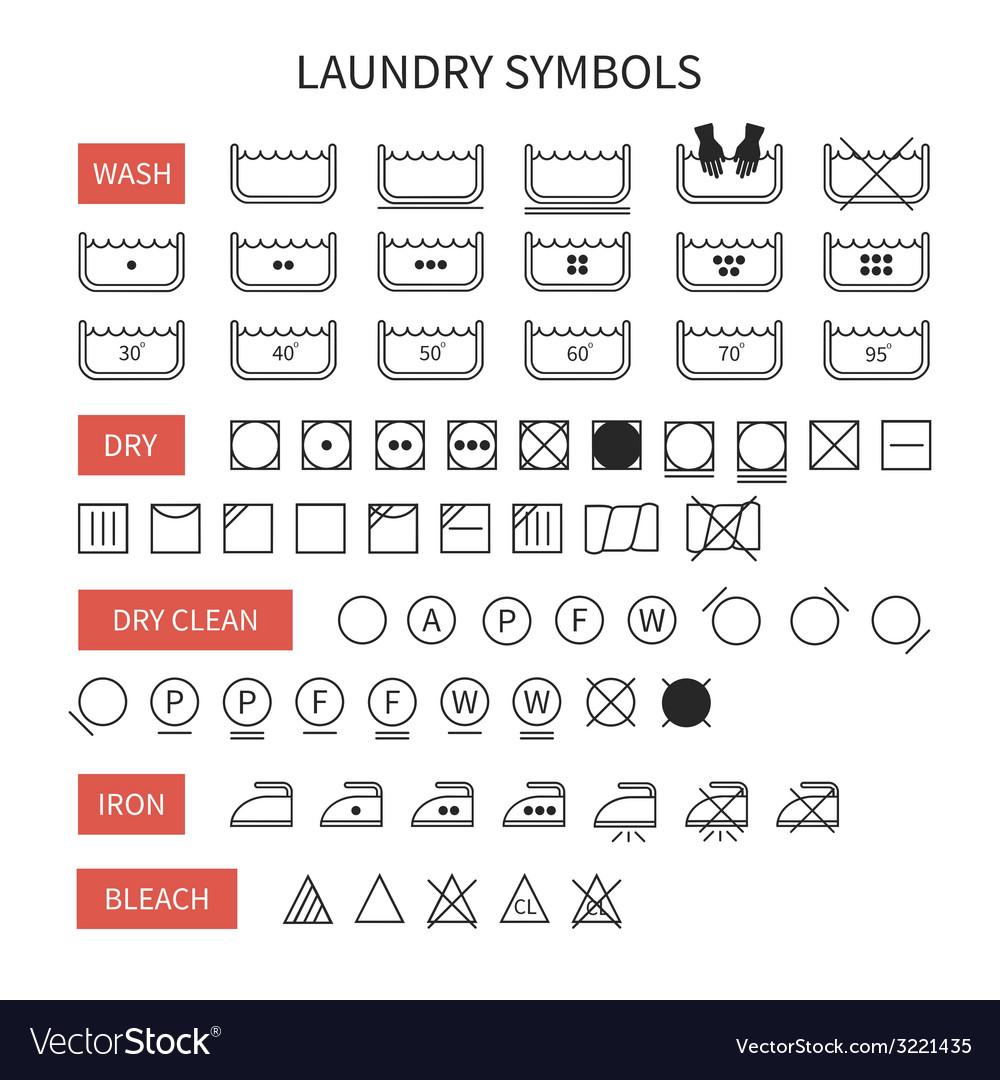 Set of line simple washing instruction symbols