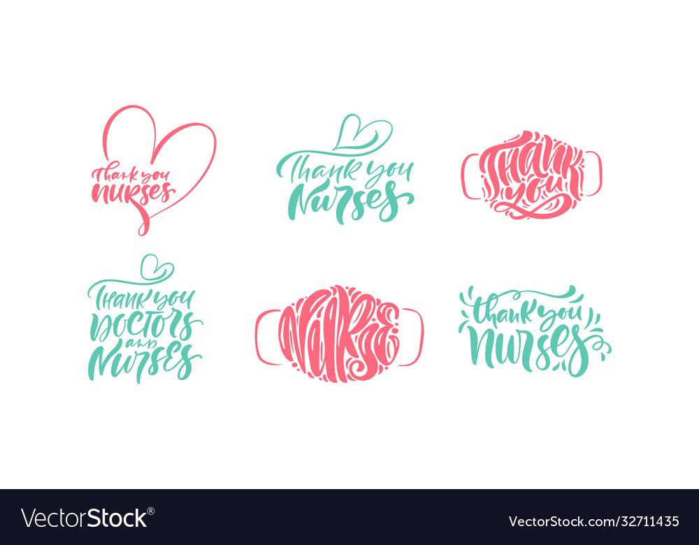 Set thank you nurses lettering text
