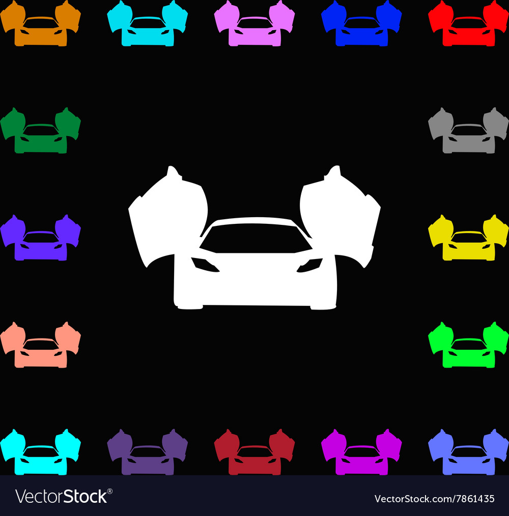 Sports Car Icon Sign Lots Of Colorful Symbols For Vector Image
