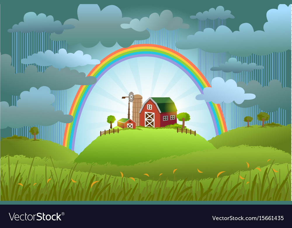 The rainbow protects the small farm