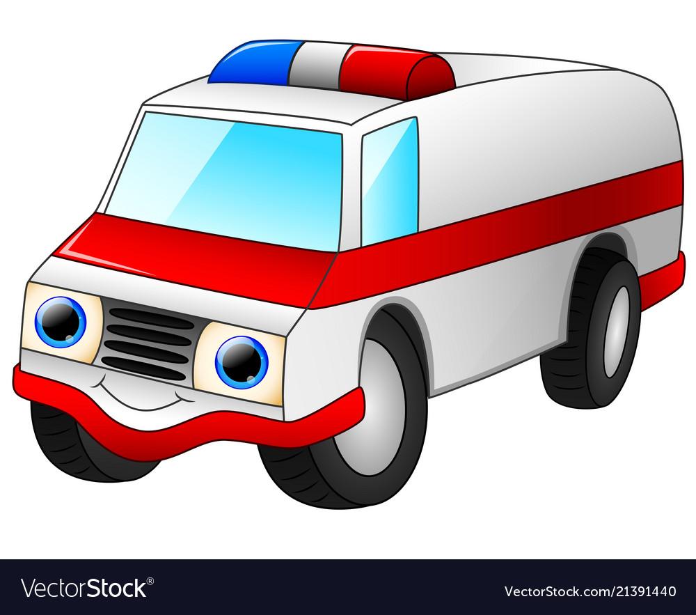 Ambulance car cartoon isolated on white background