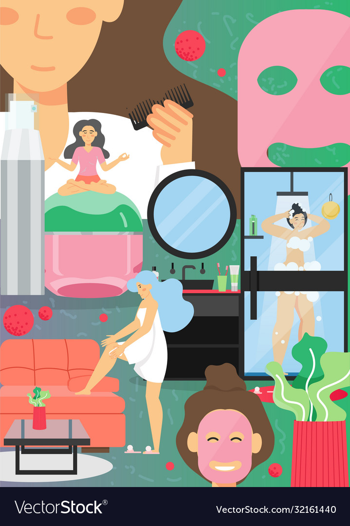 At Home Skincare Routine Poster Banner Royalty Free Vector