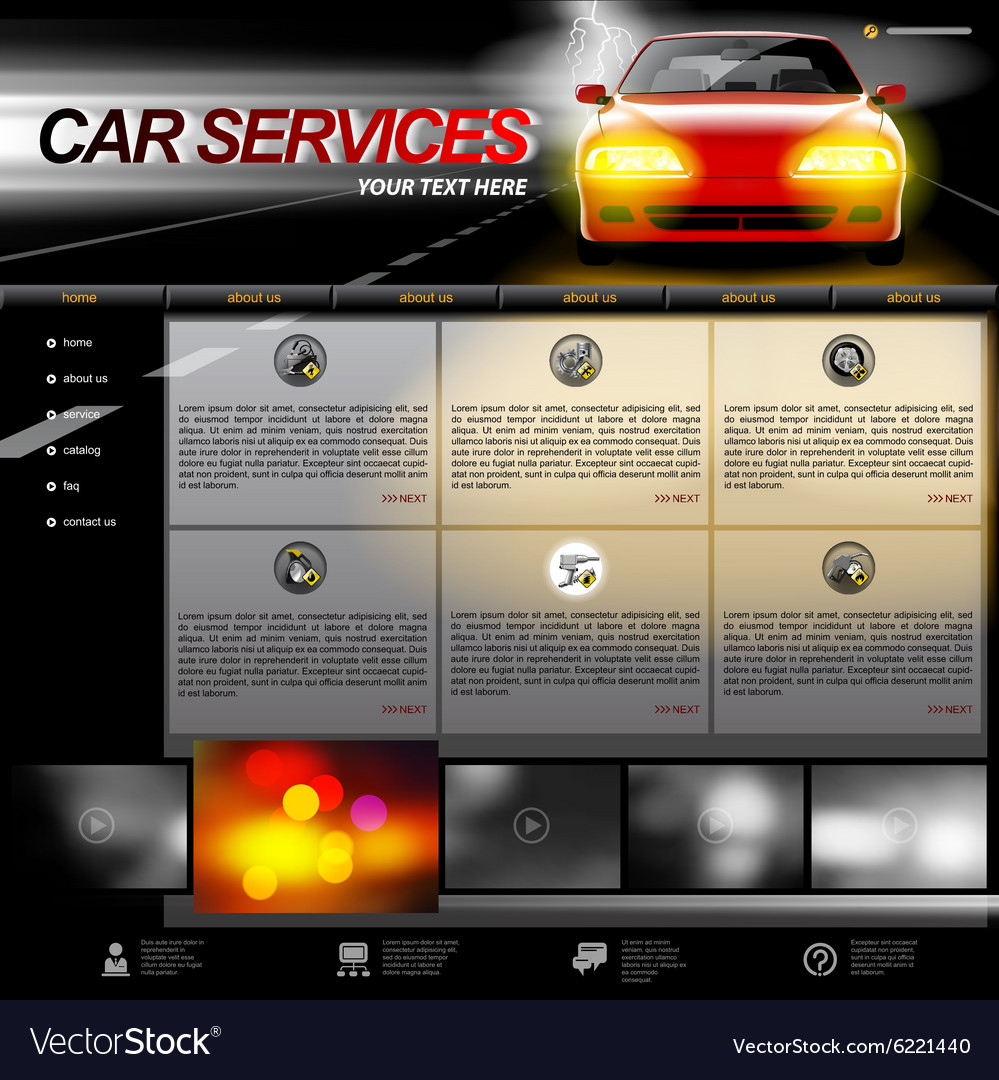 automobile service website template royalty free vector