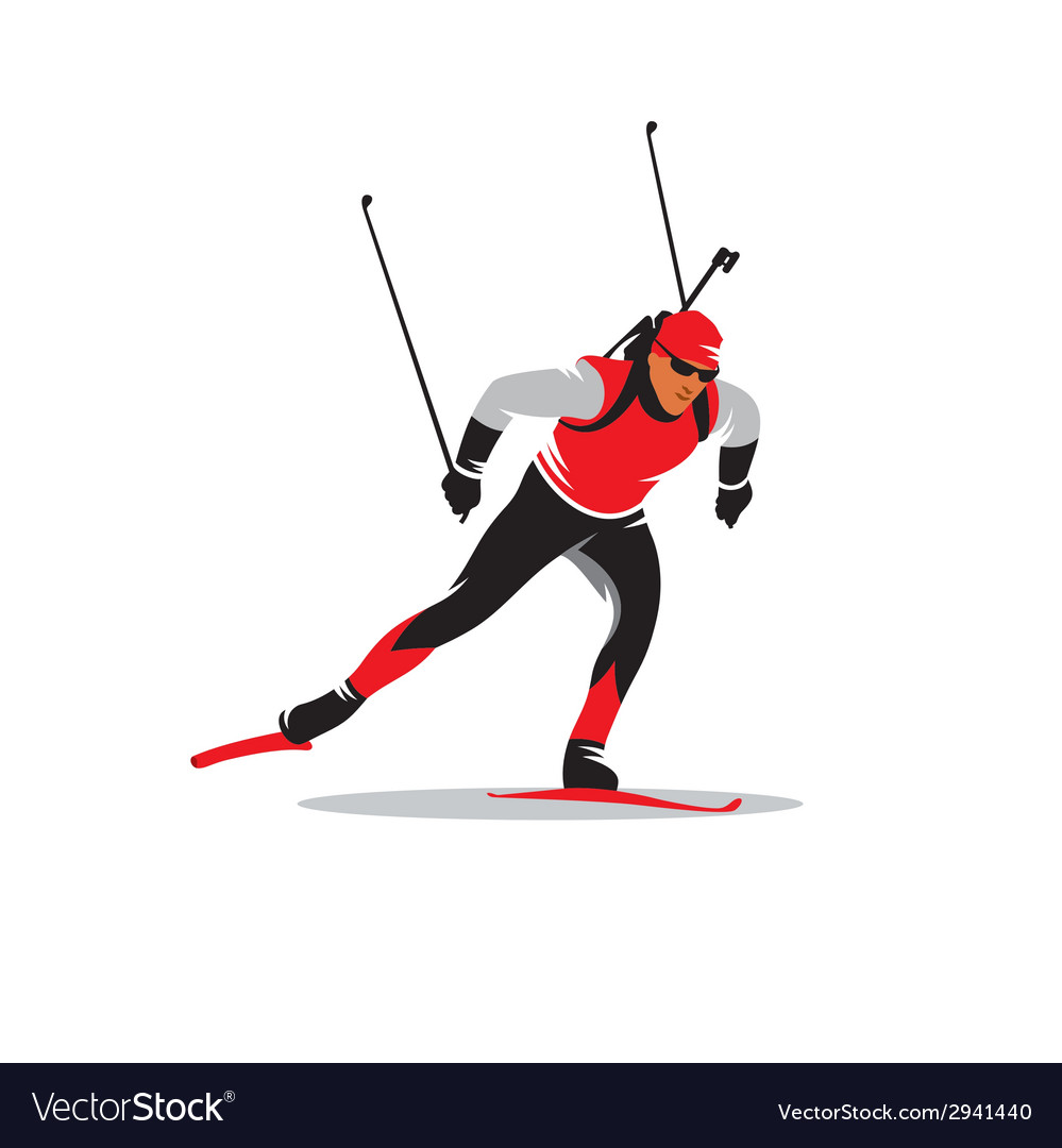Biathlete sign vector image